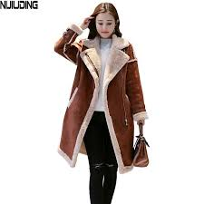 2019 2018 new winter women s faux lambs wool patchwork coat female medium long thick warm shearling coats faux suede leather jackets from hannahao