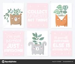 Vector Set Cute Postcards House Plant Funny Animal Pot Poster