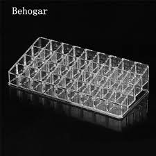 Behogar 36 Compartment Clear Acrylic Makeup Organizer Cosmetic Storage Box  for Lip Gloss Lipstick Nail Polish