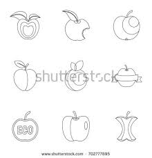 apple logo white vector. apple logo icon set. outline set of 9 vector icons for web isolated white n