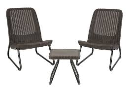 Amazon.com : Keter Rio 3 Pc All Weather Outdoor Patio Garden Conversation  Chair & Table Set Furniture, Brown : Garden & Outdoor