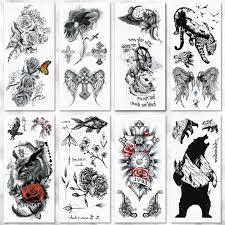 переводная вода акварельный эскиз роза сова временная татуировка
