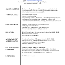 Personal Resume Personal Resume Format Fred Resumes 66