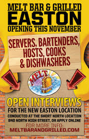 open interviews for new easton location melt bar grilled easton hiring poster