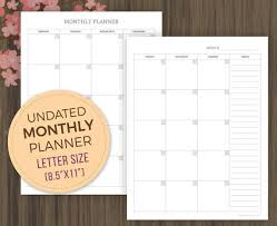 Monthly Planner Template Planner Inserts Undated Monthly Calendar Month On 2 Pages Mo2p Monthly Goals Monthly Agenda Letter 8 5x11