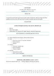 Resumes For High School Students High School Resume Resumes Perfect For High School Students 24