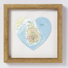 sri lanka map heart print natural frame