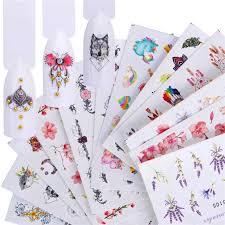 WUF <b>12PCS Nail Water Sticker</b> Decals Mix Lace Flower Flamingo ...