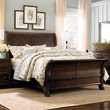 ... Using Solid Pine Cherry Wood Queen Size Sleigh Bed Frame Including  Rectangular Solid Light Oak Wood Headboard And Beige And White Bedding Set  Image