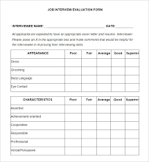 interview assessment form template 11 sample hr evaluation forms examples pdf doc psd free