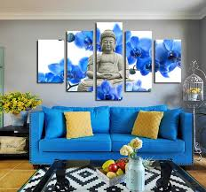 5 panel blue orchids buddha canvas prints picture art home wall decor on blue orchid canvas wall art with 5 panel blue orchids buddha canvas prints picture art home wall