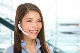 headset customer service w secretary at call center talking headset customer service w secretary at call center talking friendly smiling happy in office beautiful