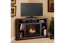 furniture dark painted pine wood corner media stand with electric modern brown decor fireplace well and