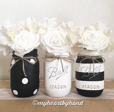 Ball Jar Decorations Black and White Mason Jar Centerpieces Distressed Mason Jars 15