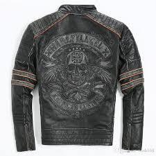 2018 2016 men retro vintage leather biker jacket embroidery skull pattern black slim fit men winter motorcycle coat from wish168 221 11 dhgate com