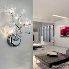 unique design for wall lights bedroom flowers shape in shining glass material and steel hanging decorated