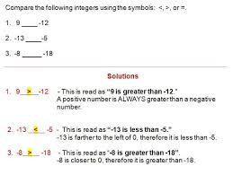 Integers Examples Comparing Integers