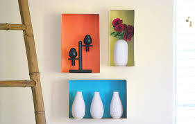 with a little bit of paint and paper dress up your empty walls by turning shoeboxes into decorative shelves perfect for lightweight items get creative wall shelves73