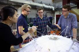 architectural engineering. Engineering Students Work On A Model Architectural