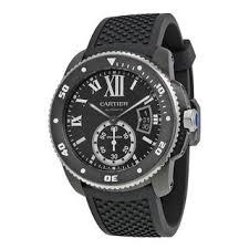 cartier men s watches shop the best deals for 2017 cartier men s wsca0006 calibre de diver automatic black rubber watch