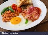 bacon and eggs with tomatoes and mushrooms