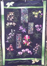 Hawiian Orchids Quilt   Cindy Roth, Quilter & Here is a closer view to show the piecing and quilting. Because the piecing  and embroidery was so striking, I kept the background quilting simple with  ... Adamdwight.com