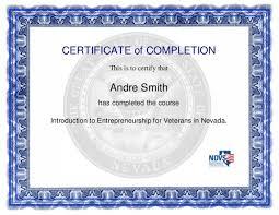 Certificate Entrepreneur