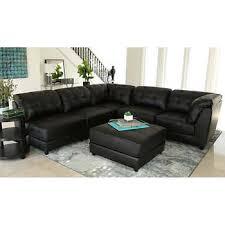 black leather living room furniture. Erica 6-piece Top Grain Leather Modular Sectional Living Room Set, Black Furniture F