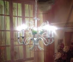 antique vintage chandelier tole flowers shabby white pink erflies italian