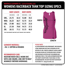 Tank Charts By Dimensions Ironville Size Charts Gym Apparel Measurments Ironville