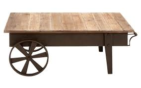 rustic coffee table with wheels style