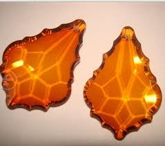 20pcs lot amber color 50mm crystal chandelier maple leaf prism pendants crystal curtain pendants