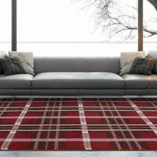 red grey traditional tartan rugs soft warm checked area fireplace rug