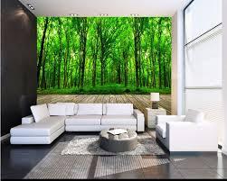 Custom 3d Grote Muurschildering Verse Groene Bos Woonkamer Sofa Tv