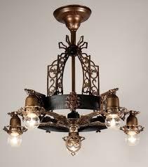 antique spanish revival semi flush five light chandelier bronze spanish revival chandelier
