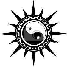 Plakát Ilustrace Yin Yang Slunce Pro Tetování