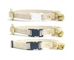 ivory white vegan cork leather breakaway safety cat collar with solid