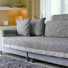 how to cover furniture. Cotton Fabric Sofa Towel Combination Kit Solid Backrest Flocked Armrest Pillowcase Gray Furniture Throw Covers How To Cover