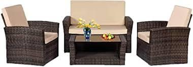 Amazon.com : Patio Sofa Set <b>4pcs</b> Outdoor Furniture Set PE Rattan ...
