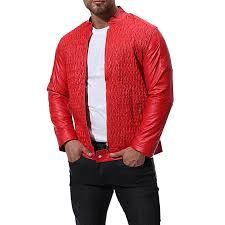hiamok men autumn winter leather jacket biker motorcycle zipper outwear coat top blouse