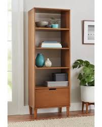 mid century modern bookshelf. Better Homes And Gardens Flynn Mid Century Modern Bookcase With Drawer, Pecan Bookshelf R