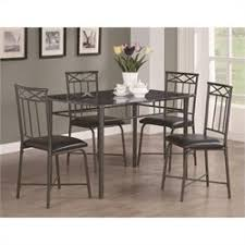 room table displays coaster set driftwood: coaster dinettes  piece dining set with leg table in dark metal