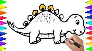 Small Picture How to Draw Dinosaur Coloring Pages Video for Kids Learning