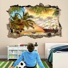 pirate ship treasure island wall art