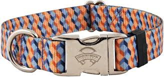 Patterned Dog Collars Adorable Buy Blue And Tangerine Cubes Premium Dog Collar Online