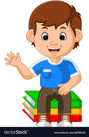 kids boy sitting on big book cartoon vector image