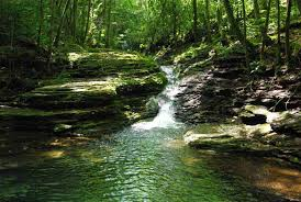 a breathtaking swimming hole is located nearby where beautiful rays of blue and green reflect