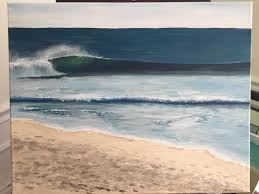 acrylic painting of the beach 16x20 trying to learn how to do waves