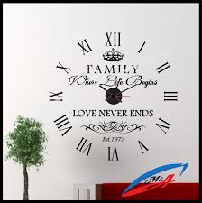 wall clock wall decal with true mechanism clock family where life begins love never ends z2 wall art stickers