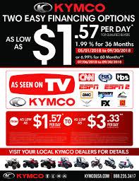 2018 kymco retail financing promo